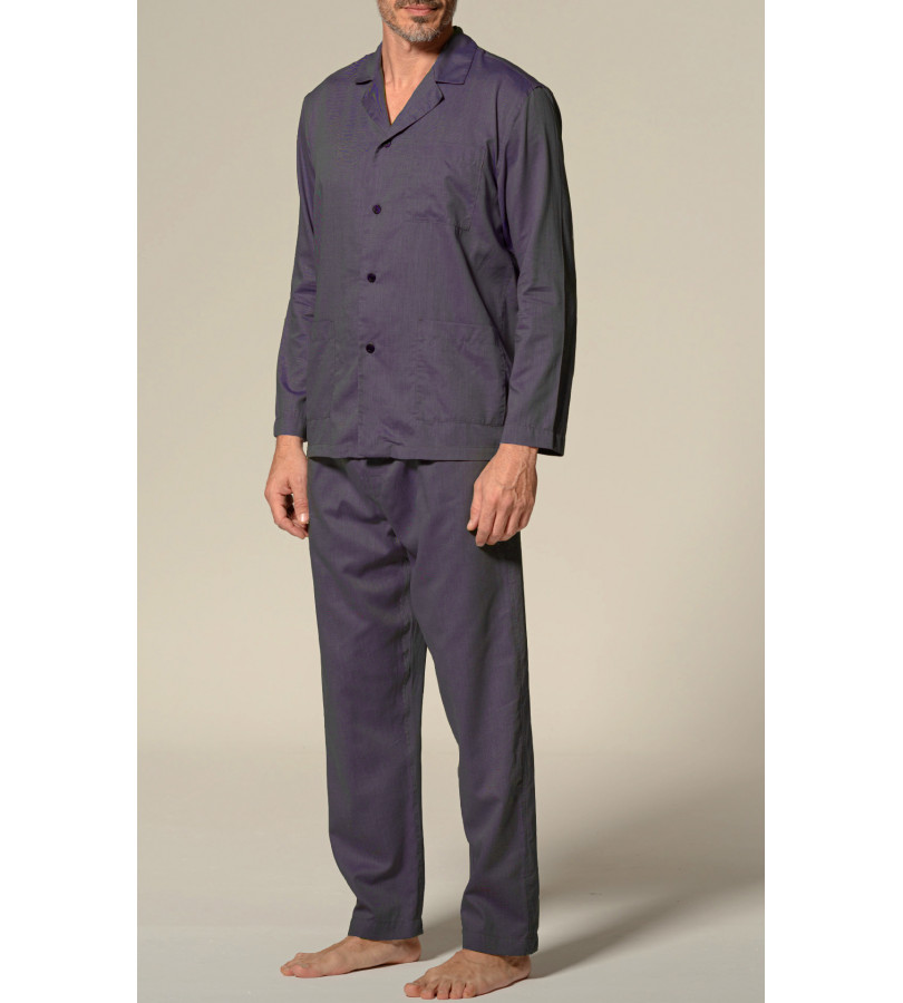Open pajamas in lyocell twill fabric and cotton